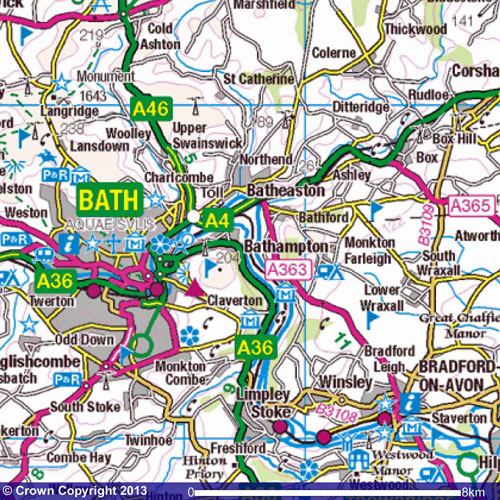Bath & Bradford-on-Avon map