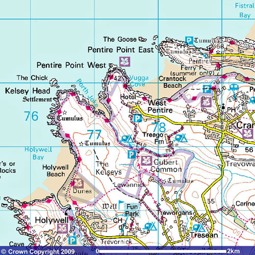 West Pentire map